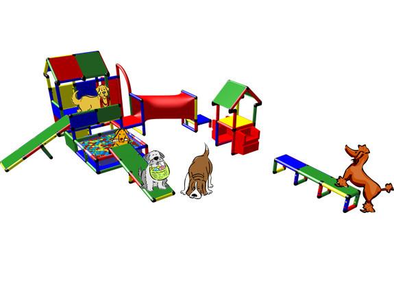 Welpenspielanlage Hundetraum mit 5 Hunden auf dem Hundespielgerät